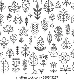 Seamless pattern with Geometrical leaves, trees and flowers. Linear style. Vector illustration for your cute design.