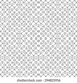 Seamless pattern. Geometrical linear texture. Repeating thin broken lines, polygon, difficult polygonal shapes. Original black and white pattern. Backdrop. Web. Vector element of graphic design