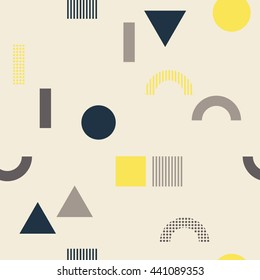 Seamless pattern with geometrical shapes - square, triangle, circle. Multicolored vector texture with colorful simple figures. Nice abstract background with geometrical figures in flat style.