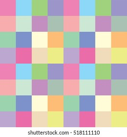 Seamless pattern of geometries in pastel colors.