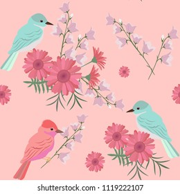 Seamless pattern with gerberas, campanula and birds. For decoration of textiles, packaging and web design. Vector illustration.