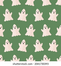 seamless pattern ghost Halloween holidays on green background vector wallpaper textile giftwrap