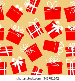 Seamless pattern with gift boxes with ribbons
