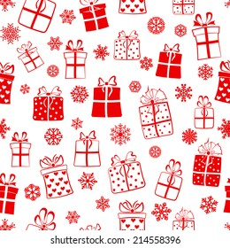 Seamless pattern of gift boxes and snowflakes, red on white
