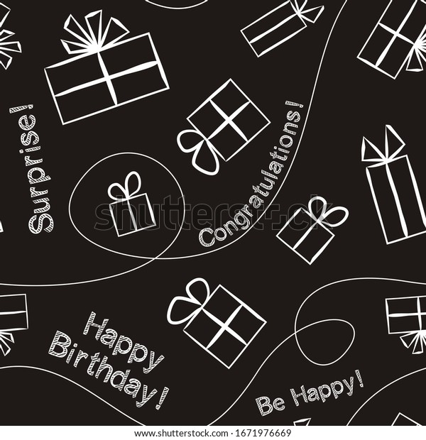 Seamless pattern for gift wrapping paper in chalky style. Background with gift boxes with bows. Hand-drawn gift boxes in doodle style. Vector illustration