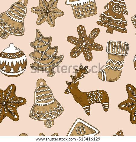 Seamless Pattern Gingerbread Christmas Trees Deer Stock Vector