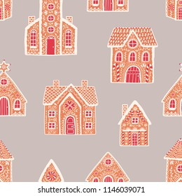 Seamless pattern with gingerbread houses on light background. Backdrop with delicious baked desserts decorated with sugar icing. Flat cartoon colorful vector illustration for fabric print, wallpaper