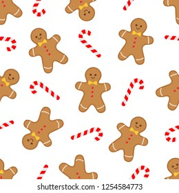 Seamless pattern with gingerbread man and candy cane on white background. Vector flat illustration