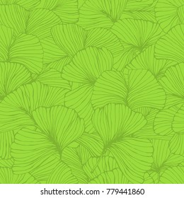 seamless pattern with ginkgo biloba leaves, textured hand drawn outline leaf veins