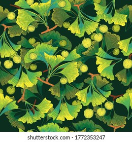 Seamless Pattern with Ginkgo Biloba plant, leaf, branch, berry. Colored Parts of a Ginkgo of Different Shade Arranged in Layers and Placed on Dark Background.