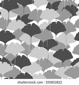 Seamless pattern with ginkgo leaves. Shades of grey on white background. Vector illustration