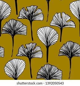 seamless pattern of ginkgo tree leaves