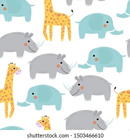 Seamless pattern with giraffe, elephant and Rhino. Vector illustration for printing on fabric, Wallpaper, dishes, postcard, picture, bed linen, children's products. Cute baby background.