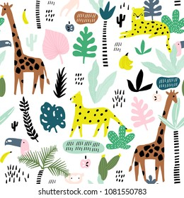 Seamless pattern with giraffe, leopard,tucan, monkey and tropical elemnts. Creative jungle childish texture. Great for fabric, textile Vector Illustration