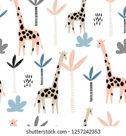 Seamless pattern with giraffe and palms tree. Creative jungle childish texture. Great for fabric, textile Vector Illustration