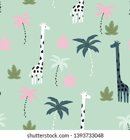 seamless pattern with giraffe, tropical elemnts, creative jungle childish texture, great for fabric, textile, vector Illustration
