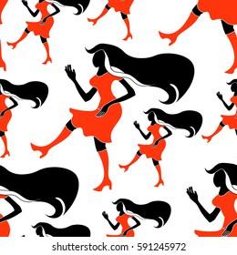 seamless pattern Girl disco dancing silhouette  figure  vector illustration