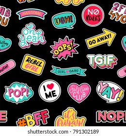 Seamless pattern of girl fashion patches with black background