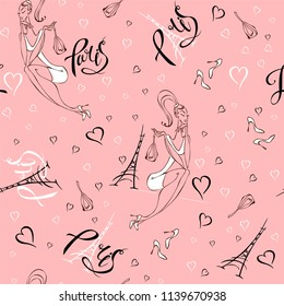 Seamless pattern. Girl in Paris.  Romantic print. Girl model on the background of the Eiffel tower.  Lettering. Hearts. Pink. Vector.