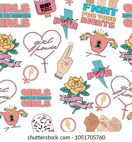 Seamless pattern Girl Power and Feminist idea in the style of a sketch tattoo. Editable vector illustration