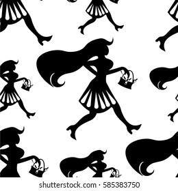 seamless pattern girl shopping silhouette  figure  vector illustration