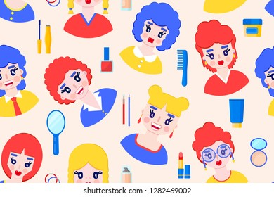 Seamless pattern with girls and cosmetics on pastel background.