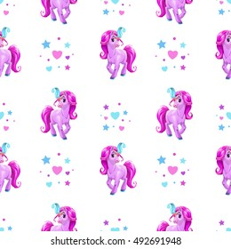 Seamless pattern for girls with cute cartoon little pink horse and hearts on white background. Vector childish texture. Kids style wallpaper print.