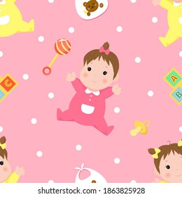Seamless pattern with girls in pink and yellow clothes, childrens toys and elements, pink background. Pattern for decorating gifts baby shower, fabrics and clothes for kids.