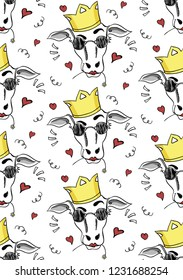 Seamless pattern with glamorous queen of cows head on white background. Vector.