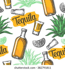 Seamless pattern of glass and bottle, salt, cactus and lime on white background. Vintage vector engraving illustration for label, poster, web, invitation to a tequila party.