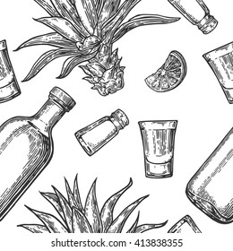 Seamless pattern of glass and bottle, tequila, salt, cactus and lime on white background. Vintage vector engraving illustration for label, poster, web, invitation to party.