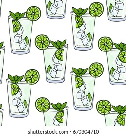 Seamless pattern glass of mojito, ice cubes, mint leaves and lime slice on a white background. Summer cold drink background. Hand drawing alcohol cocktail. Vector illustration in cartoon style.