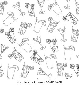 Seamless pattern glass of mojito, Long Island Ice Tea, Dry Martini, ice cubes, mint leaves and lime outline. Black outline of the cocktail on a white background. Hand drawing. Vector illustration.