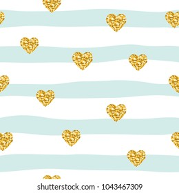 Seamless pattern with glitter confetti hearts on striped background. Golden and pastel blue trendy colors. For birthday, fashion and wedding design.