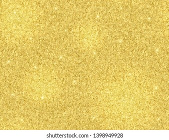 Seamless pattern glitter golden gradient. Sparkle golden background with blinking lights. Horizontal background with tinsel and sparkles. Design golden foil for invitations, posters, cards, wallpaper