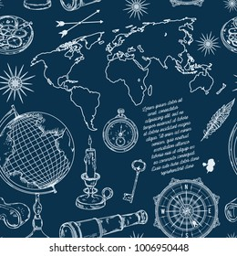 Seamless pattern with globe, compass, world map and wind rose. Vintage science objects set in steampunk style. Vector illustration