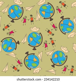 Seamless pattern with a globe on a journey, a paper airplane and ship, and painted people. Vector illustration