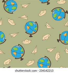 Seamless pattern with a globe on a journey, a paper airplane and ship. Vector illustration