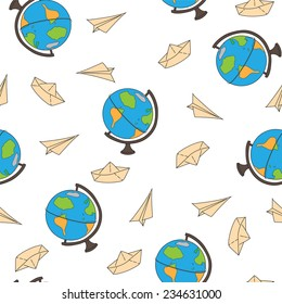 Seamless pattern with a globe on a journey, a paper airplane and ship on a white background. Vector illustration