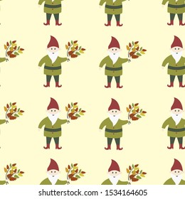 Seamless pattern with gnomes and autumn leaves