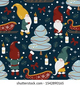 seamless pattern with gnomes and christmas night - vector illustration, eps