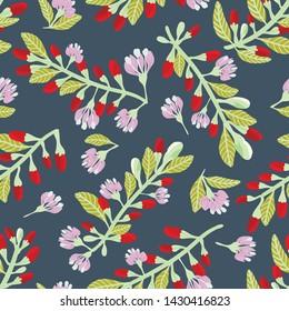 Seamless pattern of goji berries/ goji berry blooming on dark background. Vector illustration.