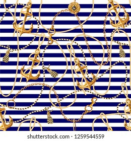 Seamless pattern with gold anchor, coins and chains for fabric design. Vector