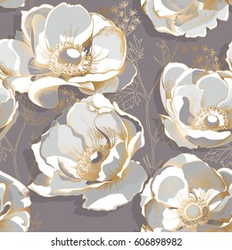 Seamless pattern with a gold Anemone flowers on a gray background. Vector illustration.