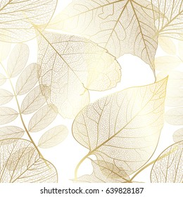 Seamless pattern with gold autumn leaves. Vector,