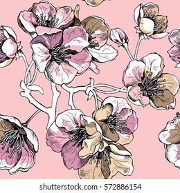 Seamless pattern with gold flowers cherry on a light pink background. Vector illustration.