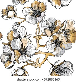 Seamless pattern with gold flowers cherry on a white background. Vector illustration.