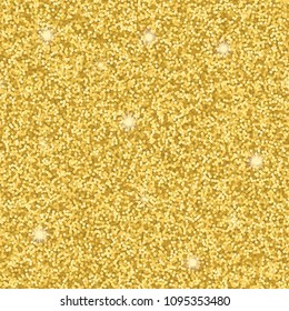 Seamless pattern from gold glitter. Vector repeat wallpaper for luxuty background, greeting, birhtday card, invitation, textile prints, wrapping.