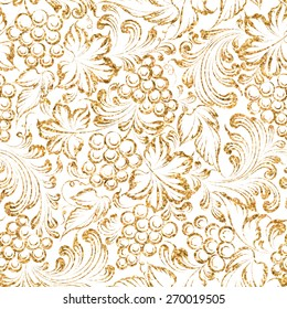 Seamless pattern gold grapes four vine background. Vector illustration