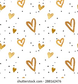 Seamless pattern in the gold hearts.Drawing freehand brush style. Vector metallic illustration.